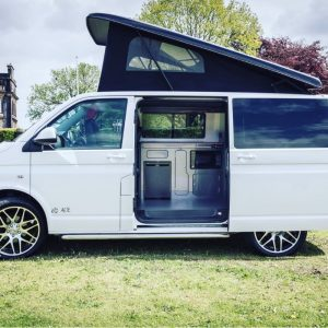White VW Campers side view